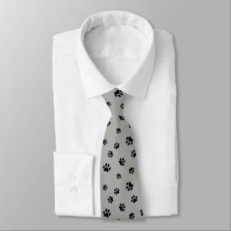 Black Paw Prints Pattern on Gray Background Tie