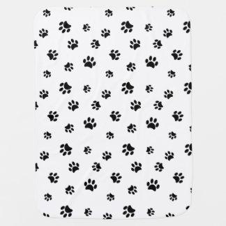 Black Paw Prints Pattern Reversible Baby Blanket