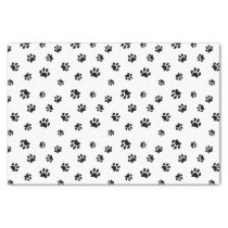 Black Paw Prints Pattern Tissue Paper