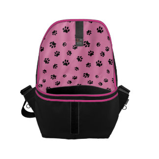 Black Paw Prints Pattern with Pink Background Small Messenger Bag