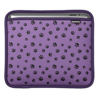 Black Paw Prints Pattern with Purple Background iPad Sleeve