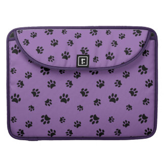 Black Paw Prints Pattern with Purple Background Sleeve For MacBook Pro