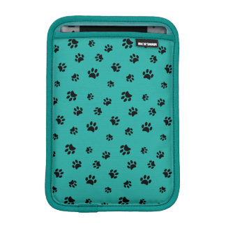 Black Paw Prints Pattern with Teal Background Sleeve For iPad Mini