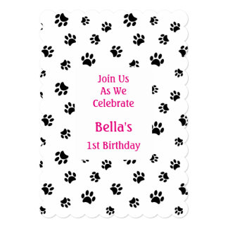 Black Paw Prints Pet Birthday Invitation
