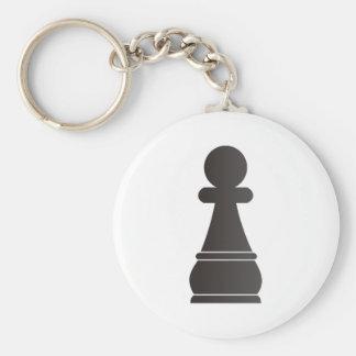 Black Pawn Chess Piece Basic Round Button Keychain