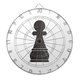 Black Pawn Chess Piece Dartboard With Darts