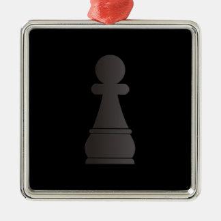 Black Pawn chess piece Metal Ornament