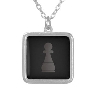 Black Pawn Chess Piece Silver Plated Necklace