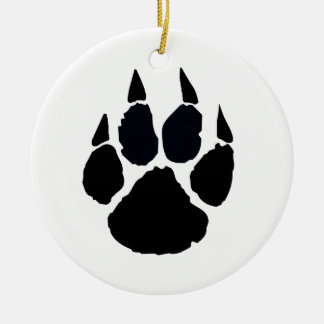 Black Pawprint Ceramic Ornament