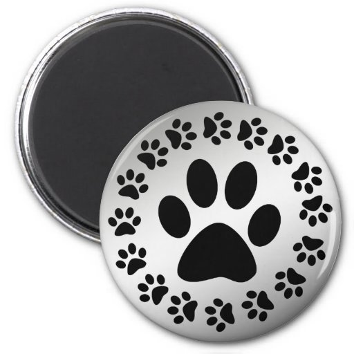 BLACK PAWS ON SILVER 2 INCH ROUND MAGNET