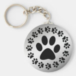BLACK PAWS ON SILVER KEYCHAINS