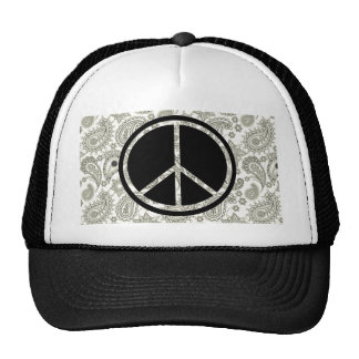 Black Peace & Paisley on White Trucker Hat