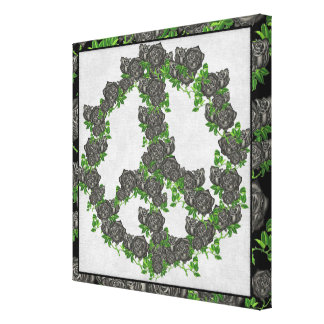 Black Peace Roses Stretched Canvas Prints