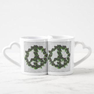 Black Peace Roses Coffee Mug Set