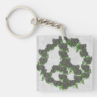 Black Peace Roses Keychain