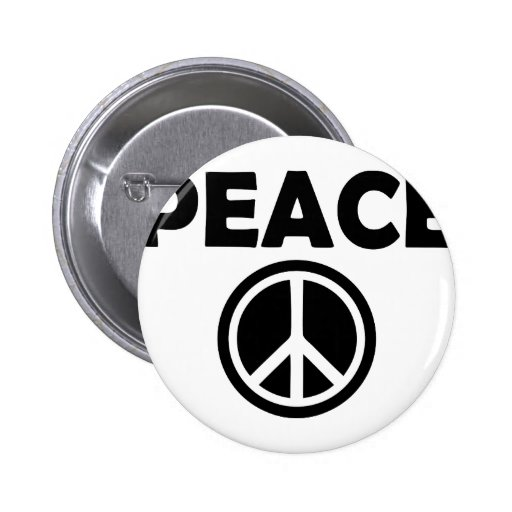 black peace sign 2 inch round button