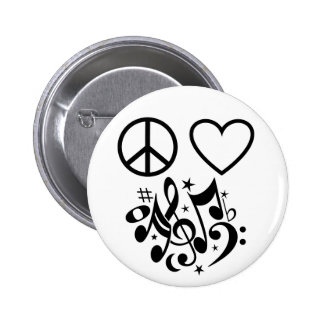 Black Peace Sign Red Heart Musical Harmony 2 Inch Round Button