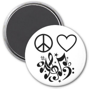 Black Peace Sign Red Heart Musical Harmony Magnet