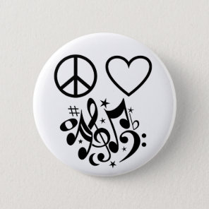 Black Peace Sign Red Heart Musical Harmony Pinback Button