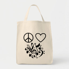 Black Peace Sign Red Heart Musical Harmony Tote Bag