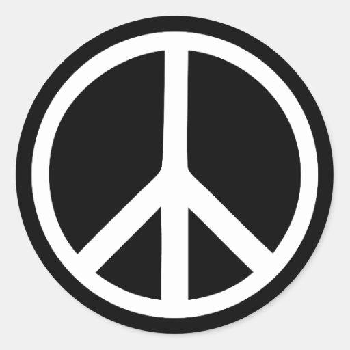 black peace sign round sticker