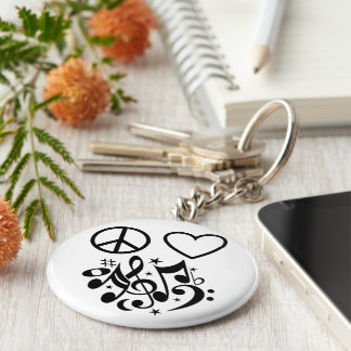 Black Peace Symbol Love Heart Dancing Music Notes Basic Round Button Keychain