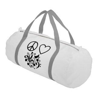 Black Peace Symbol Love Heart Dancing Music Notes Gym Bag