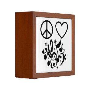 Black Peace Symbol Love Heart Dancing Music Notes Pencil/Pen Holder