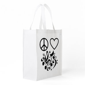 Black Peace Symbol Love Heart Dancing Music Notes Reusable Grocery Bag