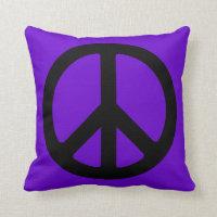 Black Peace Symbol Throw Pillow