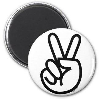 Black Peace V-Sign 2 Inch Round Magnet