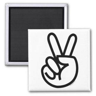 Black Peace V-Sign 2 Inch Square Magnet