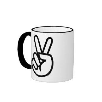Black Peace V-Sign Ringer Mug