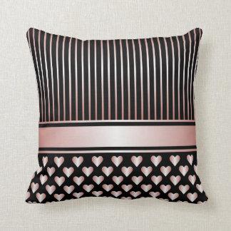 Black Peach Satin Hearts Ribbons Throw Pillow