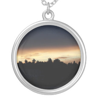 Black Peach Sunset Over Lake Swan Georgia Round Pendant Necklace