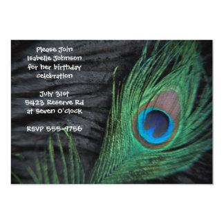 Black Peacock Feather Birthday 5x7 Paper Invitation Card