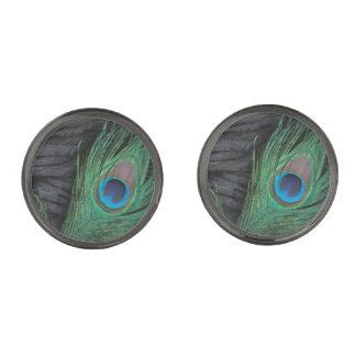 Black Peacock Feather Gunmetal Finish Cuff Links