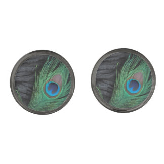 Black Peacock Feather Gunmetal Finish Cuff Links