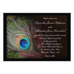 Black Peacock Feather w/Moss Wedding Invitations