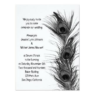 Black Peacock Feathers Wedding Invitation