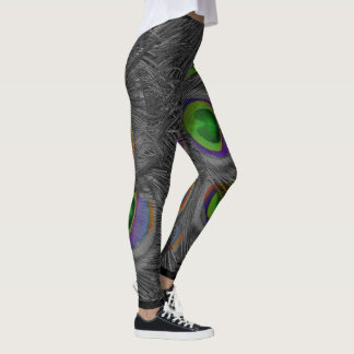 Black Peacock Leggings with color
