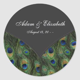 Black Peacock Wedding Favor Label