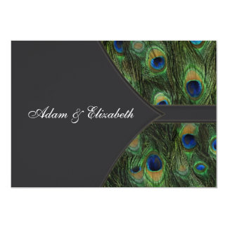 "Black Peacock Wedding Invitations 5"" X 7"" Invitation Card"