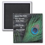 Black Peacock Wedding Magnets