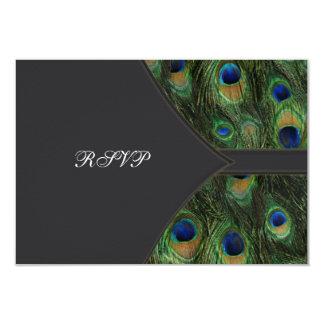 Black Peacock Wedding RSVP Card