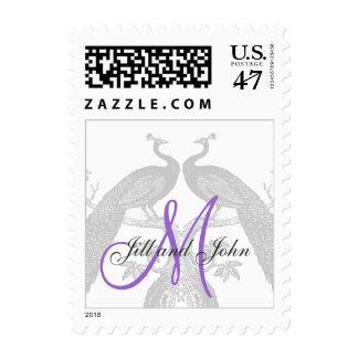 Black Peacocks Purple Monogram Wedding Postage
