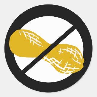 Black Peanut Free Nut Allergy Kids Classic Round Sticker