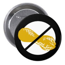 Black Peanut Free Nut Allergy Kids Pinback Button