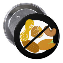 Black Peanut Tree Nut Free Nut Allergy Kids Button