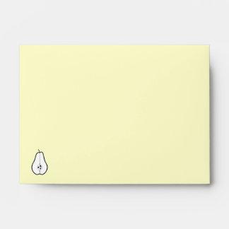 Black Pear Half. Line illustration. Envelopes